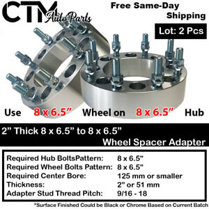 "2PC 2"" THICK 8x6.5"" to 8x6.5"" WHEEL SPACER ADAPTER 9/16-18 STUD FIT CHEVY MODEL"