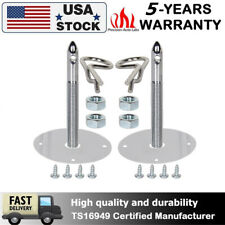Universal 1016 Stainless Steel Chrome Mount Hood Pin Pins Plate Lock Clip Kits