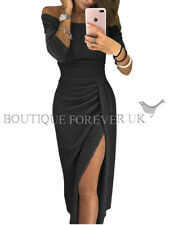 UK Womens Ladies Off Shoulder Evening Party Long Pencil Split Midi Dress 6 - 16