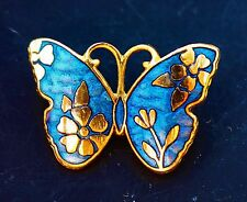 Gold tone Butterfly glue and gold tone cloisonne enamel      BROOCH