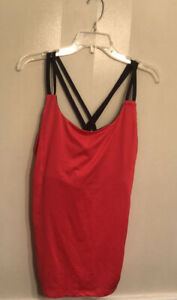 Womens Champion DuoDry Coral & Black Strappy Exercise Tank Top Size XXL