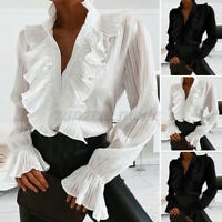 US Womens Tops Long Sleeve Casual Party Buttons Down Shirt Plus Size Blouse Tee