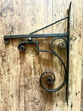 More details for antique salvage heavy hand forged blacksmith made wall hanging bracket