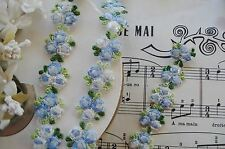 VINTAG OMBRE BLUE FLOWERS SCHIFFLI EMBROIDERED FRENCH DOLL APPLIQUE RIBBON TRIM