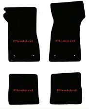 NEW! FLOOR MATS 1967-1969 PONTIAC FIREBIRD Embroidered Script Logo in Red on all
