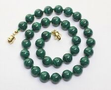"Malachite Necklace 10mm 16"" 10 mm Natural Green Malakite Stone Beads Necklace"