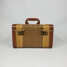 Vintage Tweed Striped Train Case 1930s 1940s Luggage Suitcase Antique Decor