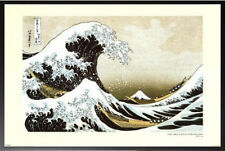 Great Wave At Kanagawa Hokusai Poster Dry Mount in Black Wood Frame 24x36