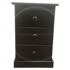 HAND MADE CAMBRIDGE 3 DRAWER BEDSIDE BLACK (ASSEMBLED)
