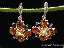 Baltic Amber Flower & 925 SOLID Silver Stud Earrings