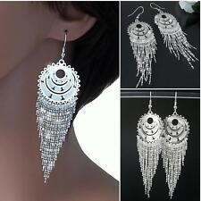 Earrings Silver Ladies 10cm Glitter Rhinestone Belly Dance Orient Party O980