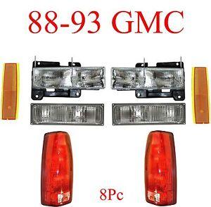 88 93 GMC 8Pc Head Light, Tail Light, Parking & Side Amber Lights Truck, Yukon