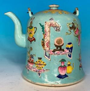 NICE CHINESE QING PERIOD BELL SHAPE PORCELAIN ANTIQUE TEAPOT