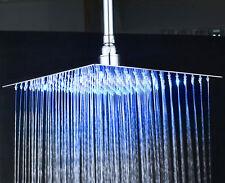 "LED Change 16"" Stainless Steel Rainfall Shower Head Bathroom Top Sprayer Faucet"
