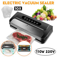 110W Electric Food Vacuum Sealer Machine For Storage Packing Home + 10 Bags