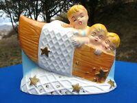VTG NURSERY Planter 3 BOYS in BOAT Sailing Big Eyes JAPAN Baby