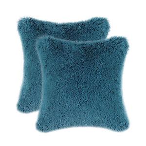 "2Pcs Deep Sea Blue Pillows Shells Case Covers Soft Plush Faux Fur Fleece 18x18"""