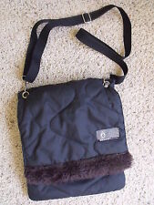 Volcom Padded Black Shoulder Bag Purse with Brown Fur Accent