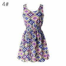 Women Summer Vintage Sleeveless Casual Party Evening Cocktail Mini Dress -4A