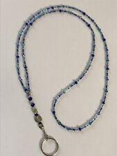 "20.5"" Shades Of Blue Handmade Crystal Cut Bead Lanyard ID Badge Holder Key Ring"