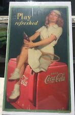 VINTAGE COCA COLA CARDBOARD 1949 Play Refreshed Beautiful Tennis Player