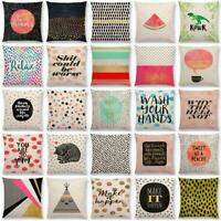 "Cotton Linen 18"" Lettern Pattern Sofa Decor Pillow Case Cushion Cover Home"