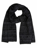 Sciarpa Scarf 100% Lana Wool ROBERTO CAVALLI Made in Italy Uomo Man Nero Black E