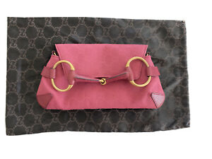 Auth GUCCI Leather Horsebit TOM FORD Clutch Bag Monogram Canvas GG PINK Purse
