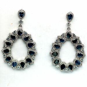NATURAL HEATED BLUE SAPPHIRE & WHITE CZ 925 STERLING SILVER EARRINGS
