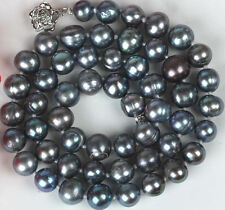 New7-8mm Black Color Cultured Freshwater Pearl Necklace 18""
