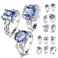 925 Silver Engagement Wedding Rings Zircon Colorful Crystal Love Women Jewelry