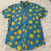 City Streets Mens Size Medium Neon Blue Palm Tree Short Sleeve Button Down Shirt