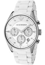Emporio Armani AR5867 Chronograph Date Silicone White Band Women's Watch $345