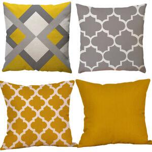 Mustard Yellow & Grey Geometric Cushion Cover Linen Look Fabric 18 inch / 45 cm
