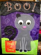 """New listing Evergreen Decorative Garden Flag Trick or Treat """"Boo!""""Cat with Rolling Eyes Nwt"""