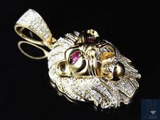 "10K Yellow Gold Genuine Diamond Red Eyed Lion Head Charm Pendant 1.5"" (0.50Ct)"
