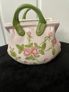 """Ceramic Purse Vase With Flowers 7""""x4""""x 6.25""""tall Beautiful Colors"""