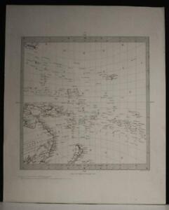AUSTRALIA NEW ZEALAND PACIFIC ISLANDS 1850 S.D.U.K UNUSUAL ANTIQUE ORIGINAL MAP