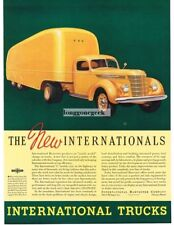 1937 International Harvester MODEL Yellow D-50 Truck with Trailer Vintage Ad