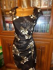 NEXT Black Floral Silky Feel Lined Cap Sleeve Dress Size 8