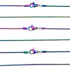 10PCS 1.2mm Rainbow Color Snake Chain 22inch 55cm Stainless Steel Necklace 22180