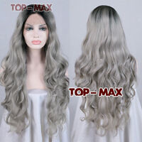 "24"" Mixed Grey Women Lady Synthetic Hair Heat Resistant Curly Lace Front Wig"