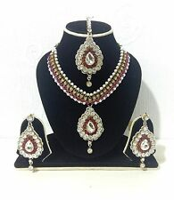 Neuf Indien Bollywood Costume Bijoux Collier Fuchsia Gold Tone Mariage Bridal