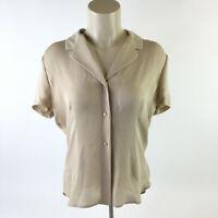 Jones New York Short Sleeve Blouse V Neck Button Up Silk Tan Womens L