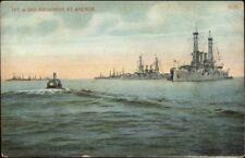 US Navy Battleships 1st & 1nd Squadron at Anchor c1910 Postcard