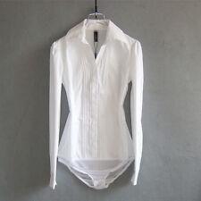 Autumn Women Bodysuit Long Sleeve OL Slim Shirt Blouse Top Jumpsuit-White, Black