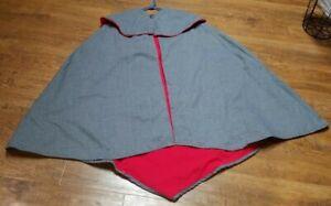 1800's Civil War Era PELERINE 3/4 CAPE Gray 100% Wool Red Piping Antique Button