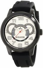 Lancaster Men's Non Plus Ultra Silver Textured Dial Black Silicon Watch