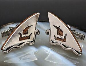 Rare Vtg. Arts Of The World SIGNED SWANK Sterling Silver Viking Ship Cufflinks