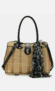 PARTRICIA NASH Spring Wicker Black Leather w/ Scarf Crossbody Purse Bag NWT B4